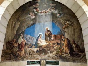 Afresco da Igreja onde os pastores foram avisados pelos anjos sobre o nascimento de Jesus em Belém.